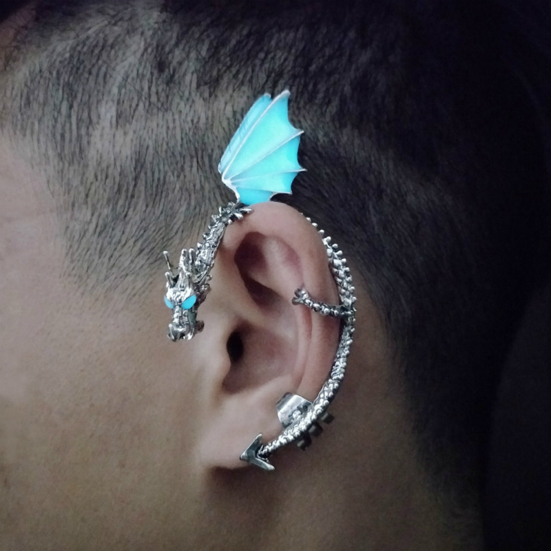 2019 New Luminous Dragon Ear Cuff Clip Glow In The Dark Punk Ear Jewelry For Men And Women  Stainless Steel Fashion Gifts