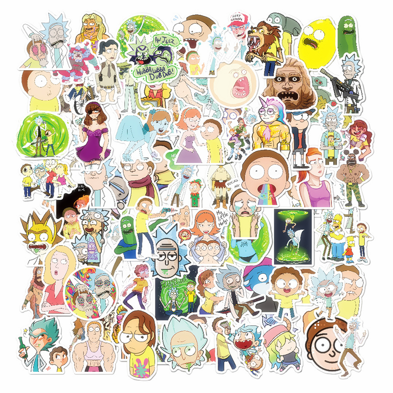 100pcs/set Anime Rick And Morty Sticker Cosplay Prop Accessories PVC Waterproof Cartoon Decal Cute Stickers