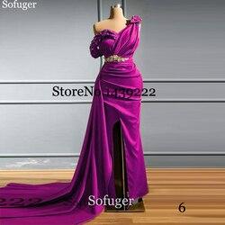 Fuschia Satin Evening Dresses Slit Evening Dress Mermaid Beads Vestidos De Fiesta De Noche Robe De Soiree Real Pictures