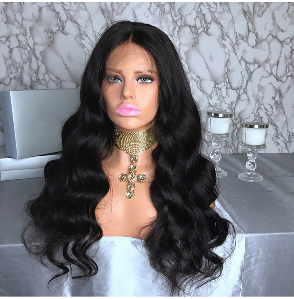 BAISI Full Indian Body Wave Lace Front Human Hair Wigs With Pre-Plucked Hairline