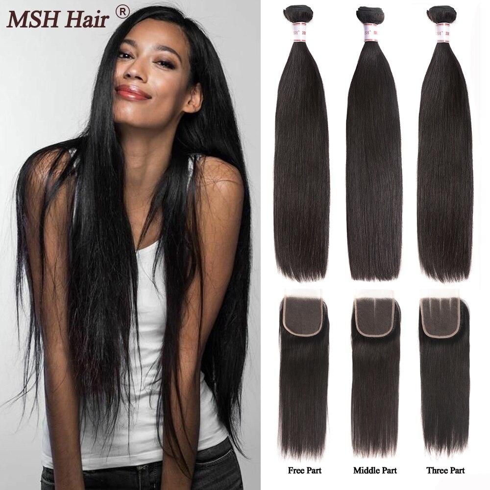 Msh cabelo brasileiro em linha reta tecer feixes de cabelo humano com 4*4 fechamento do laço 130% densidade não remy cabelo médio relação
