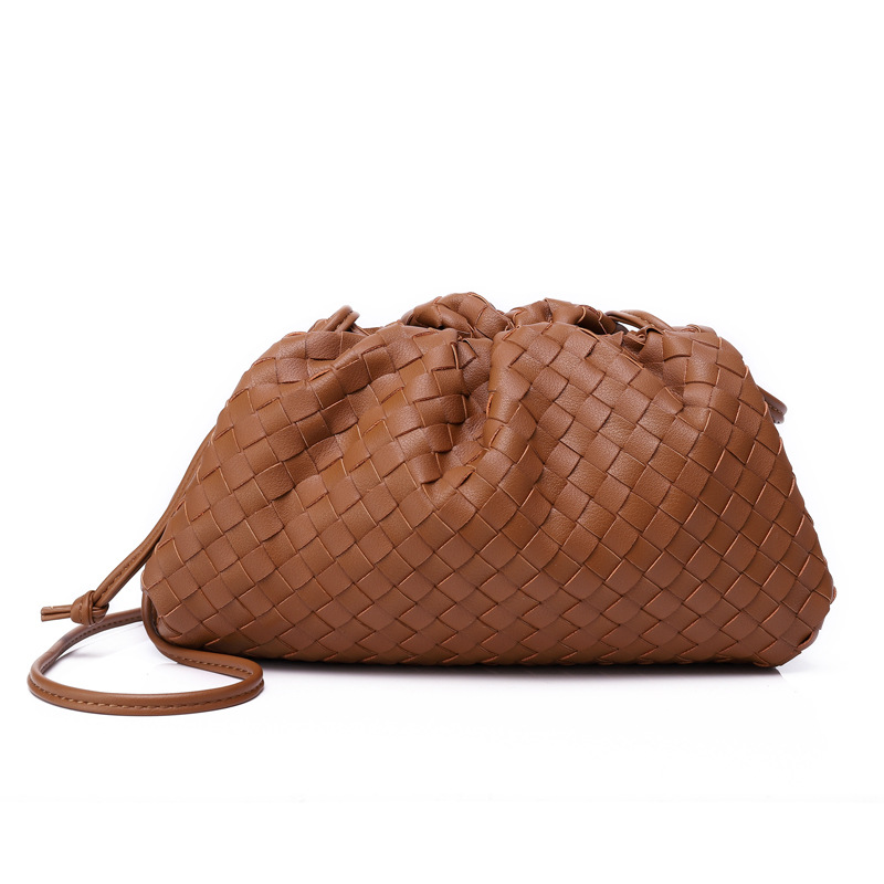 Saco de tricô de luxo das mulheres saco de envelope tecido de couro real design volumoso forma arredondada bolsas e bolsas embreagem louis marca - 5
