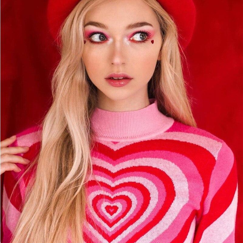 Y2K розовый свитер с сердечками Радужный пуловер теплый свитер для зимы