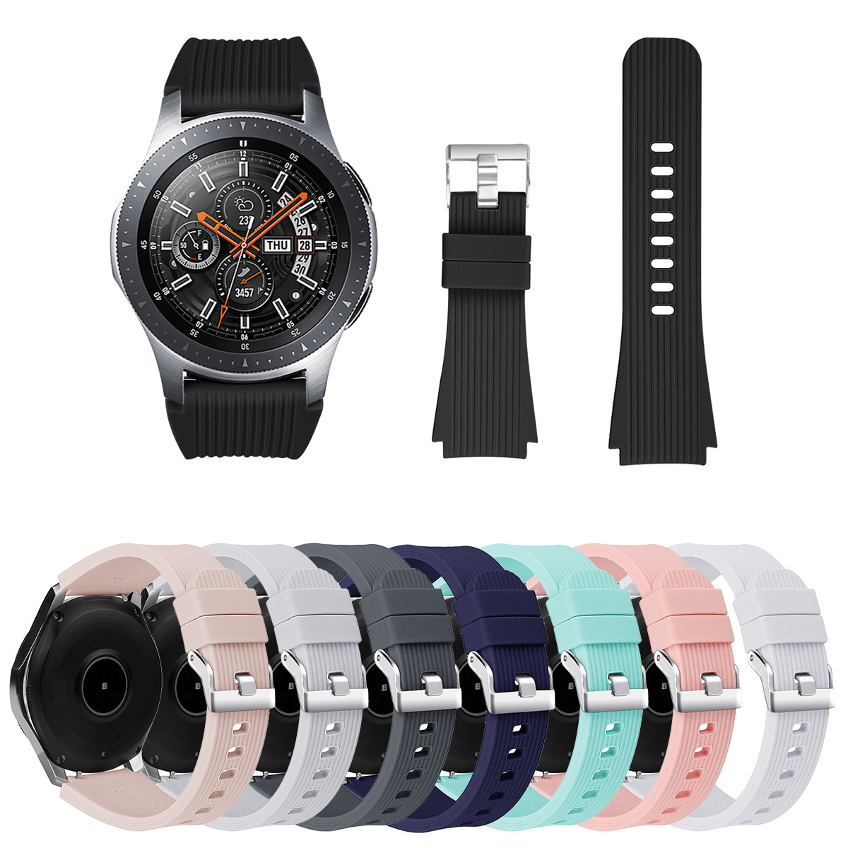 Watchband For Samsung Galaxy Watch 46mm Silicone Wristband Replacement Sport Bracelet Band Smart Watch Accessories 22mm Strap