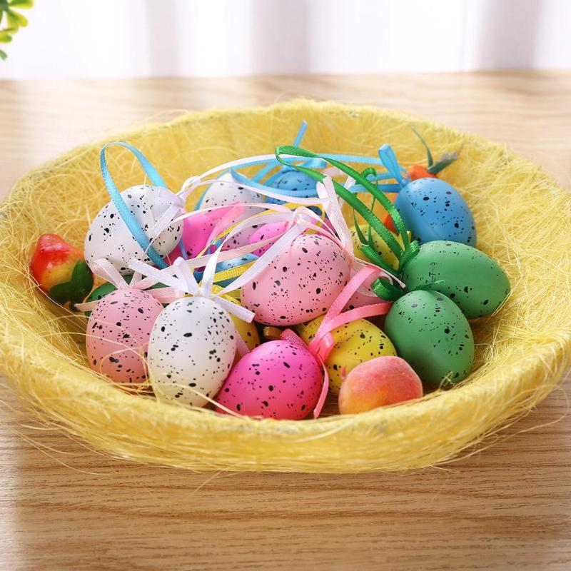 18pcs/set Easter Eggs Kidc DIY Crafts Hand Painted Hanging Tree Dove Egg Easter Educational Toys For Children Birthday Gift