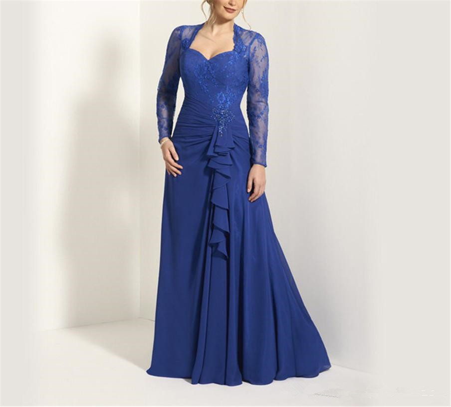 Sweetheart Long Sleeves Royal Blue Chiffon Lace Mother Of The Bride Dresses 2019 Front Keyhole Back A-line Maid Robe De Soiree