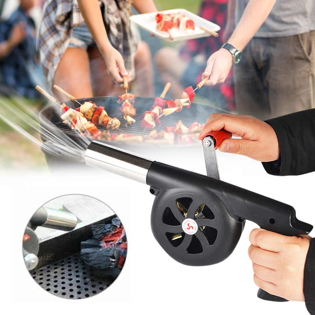 New Portable Hand Crank BBQ Air Blower Fan Outdoor Picnic Barbecue Wind Blower Fire Blow Cooking Tools Grill Accessories