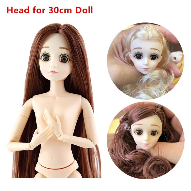 30cm Doll Accessories Head for 1/6 BJD Dolls Ball Joint Doll Head with 3D Eyes Purple/ Gray Hair Blue Eyes Dolls Toy for Girls