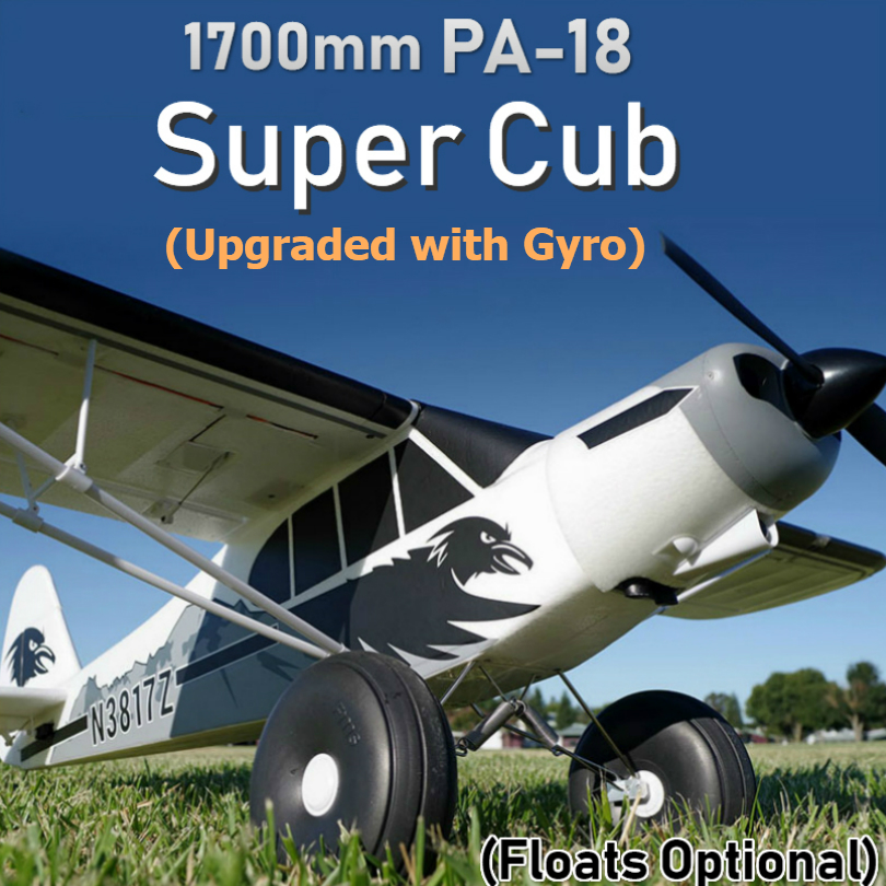 FMS RC Airplane 1700MM 1.7M PA-18 J3 Piper Super Cub Trainer Beginner With Reflex Gyro PNP Model Plane Aircraft Floats optional image