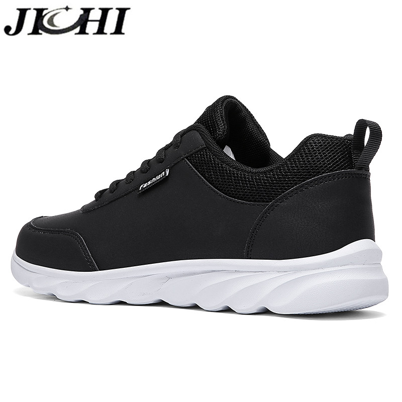 JICHI Men Casual Shoes Leather Breathable Men Sneakers Comfortable Walking Shoes Lightweight Rubber Couple Sneakers for Men 2