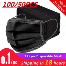 FILTER Earloops-Mask Disposable Black Breathable Dust-Proof Non-Woven 10/50/100/200pcs-mask