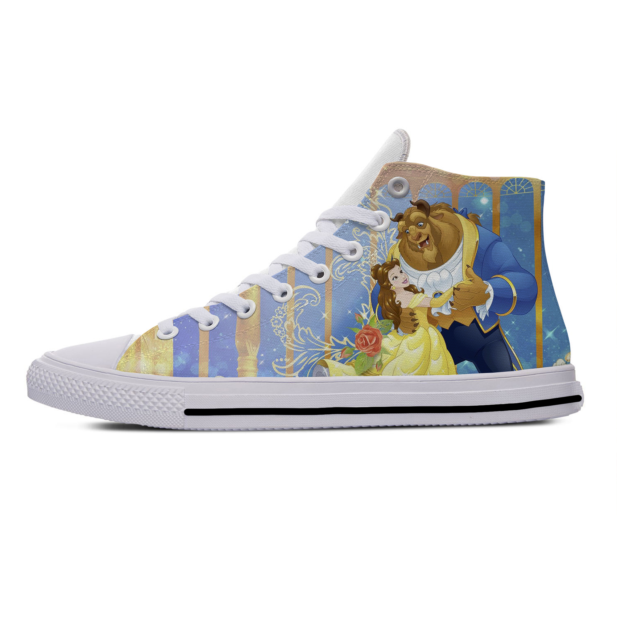 Beauty And The Beast Belle Princess Funny Vogue Casual Canvas Shoes High Top Lightweight Breathable 3D Print Men Women Sneakers