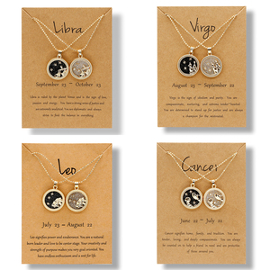 12 Constellation Pendant Necklace for Women Men Star Zodiac Sign Necklace Leo Libra Aries Wish Card Fashion Couple Jewelry Gift