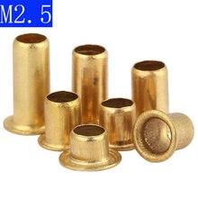 M2.5 cobre bronze vias rebite porcas através do furo rebites oco grommets 2.5mm