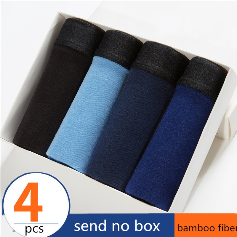 Boxer Men Solid Bamboo Fiber Breathable Comfortable Underwear Man Boxers Super-elastic Shorts Black Underpants Male Panties Gay