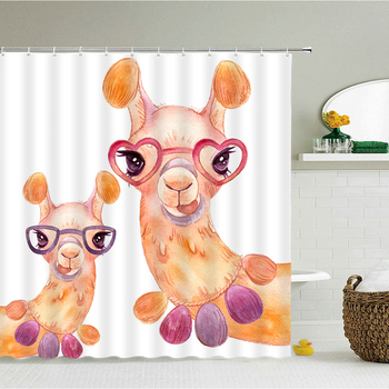 3D Cute Cartoon Alpaca Waterproof Fabric Bathroom Curtain Shower Curtains lovely Baby Printing With Hooks 240X180 Bath Screen image