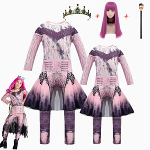 Image 3 - Pink Audrey Costumes girl Halloween Costumes for Kids Fancy Party women Costume evie descendants 3 Mal Cosplay Fantasia costumes