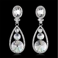 new trendy teardrop crystal earrings for women personality white wedding statement dangle jewelry Gifts