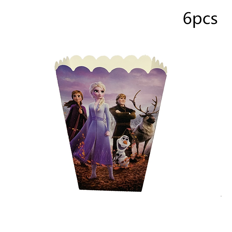 6pcs/lot Birthday Party Popcorn Boxes Frozen 2 Theme Anna And Elsa Paper Gifts Box Snow Princess Girls Kids Party Supplies Toys