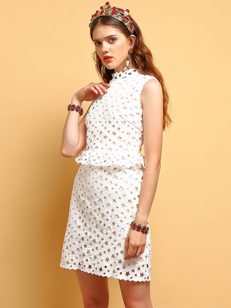 Baogarret 2019 Summer Fashion Dress Women 39 s Sleeveless Ruffles Star Hollow Out Elegant Vacation White Casual Mini Dresses in Dresses from Women 39 s Clothing