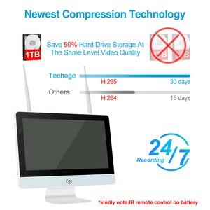 """Image 2 - Techege Monitor LCD de 12 """", cámara IP de 2MP, Wifi, CCTV de Audio, Kit de vigilancia de sistema de seguridad para el hogar, 8CH, 1080P, Kit NVR inalámbrico"""