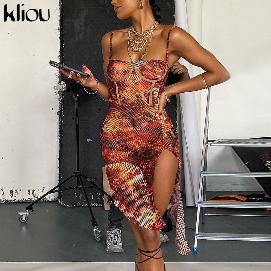 Kliou Mesh Print Side Slit Bodycon Women Camisole Dress Fashion Sleeveless Backless Party Clubwear Hot Sexy Mini Dresses