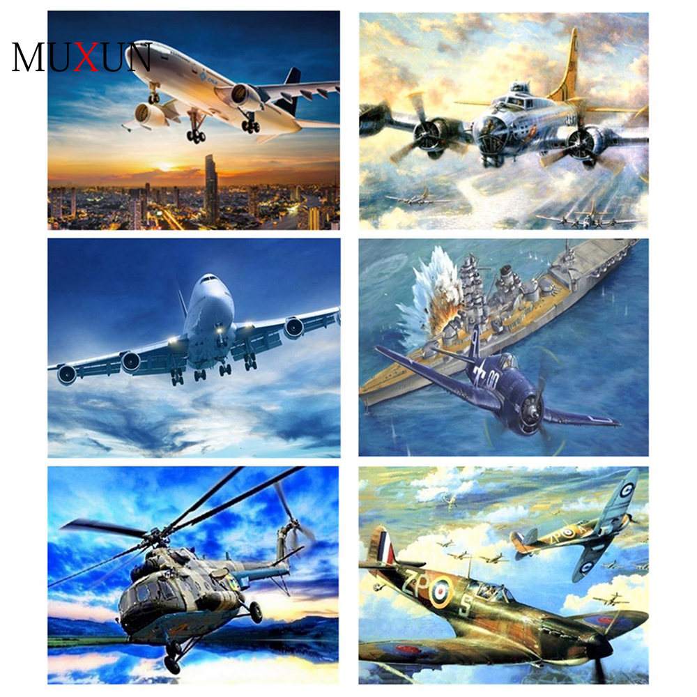 Muxun 5D Diamond Painting Cartoon Airplane Diamond Embroidered Full Diamond Home Decoration New Shelves Gift Handmake Rp273 image