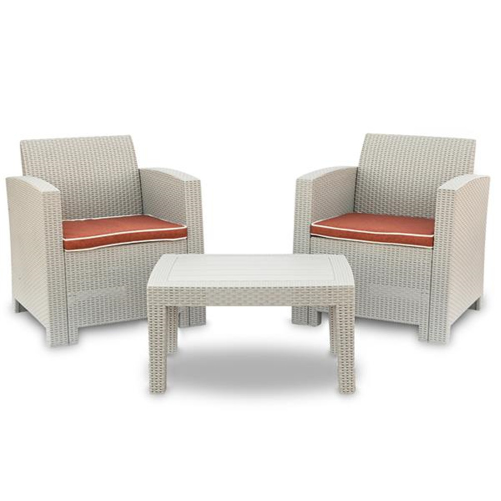 4 Pcs Weather Outdoor Patio Garden Furniture Sofa Set Gray White-Love Seat And Coffee Table Single Sofa Bought Separately