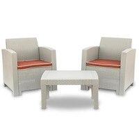 4 pcs Weather Outdoor Patio Garden Furniture Sofa Set Gray White Love Seat and Coffee Table single sofa bought separately|Garden Sofas| |  -