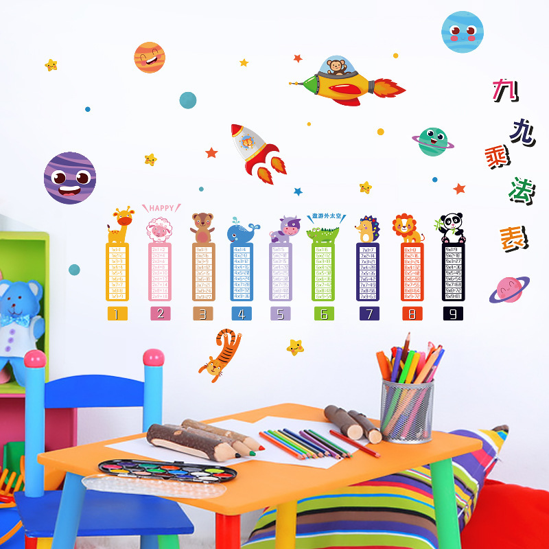 Pvc Removable Wall Sticker Multiplication Table Diy Kid Bedroom Living Home Tool
