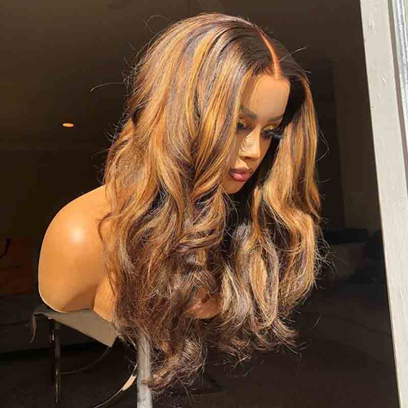 Deep Part Honey Blonde Highlight HD transparent 13X6 Ombre Lace Front Wig Body Wave Colored Human Hair Remy Wigs For Black Women