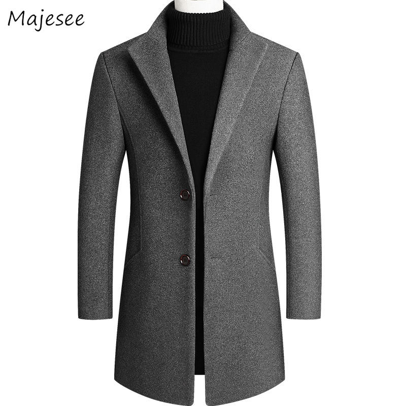 Wool Men Solid Plus Size 4XL Single Breasted Workwear Pockets All-match Chic Casual Mens Mid-long Coat Blends High Quality Daily