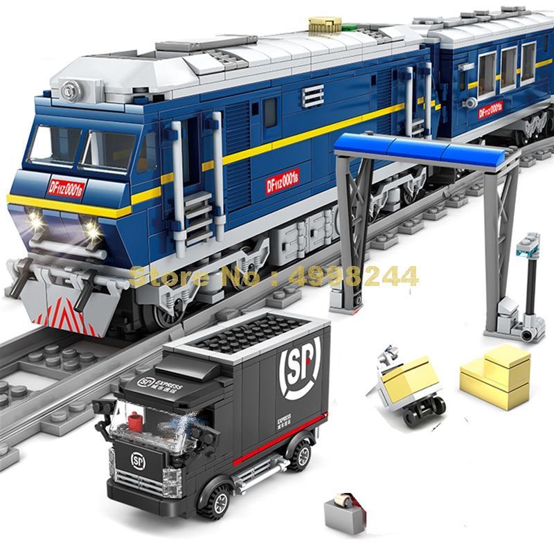 98220 1192pcs city cargo rail train track electric building blocks 5 figures Bricks Toy