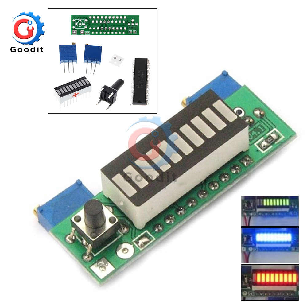 Elektronische Diy Kits 3.7V Lithium Batterij Display Board Capaciteit Indicator Module LED Power Level Tester 12V Li-Ion Lipo LM3914