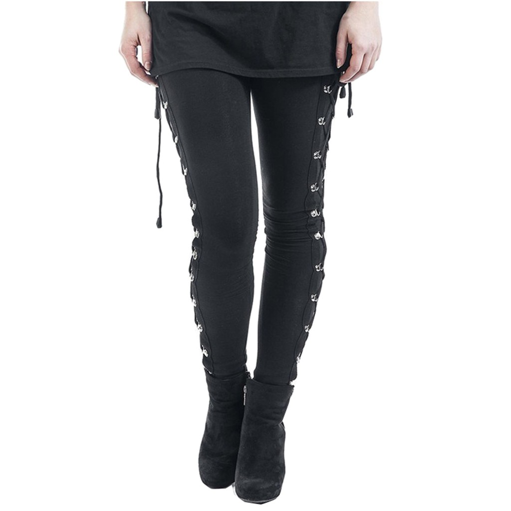 Gothic Punk Style Women Rivet Pants Stretchy Black Skinny Long Pant Girls Autumn High Waist Street Trousers Slim Fit Bottoms