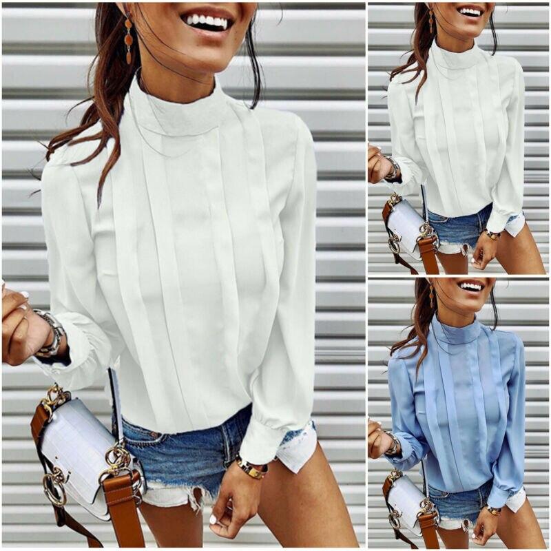 2019 New Autumn Women blusas mujer de moda Chiffon Ruffer   Shirt   Ladies Loose Top   Blouse   Chiffon Lantern Sleeve plus size