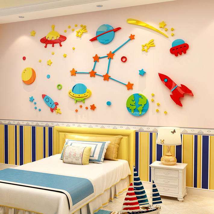 3D Rocket Space Ship Astronaut Creative Wall Sticker For Boy Room Decoration Outer Space Wall Decal Nursery Kids Bedroom Decor