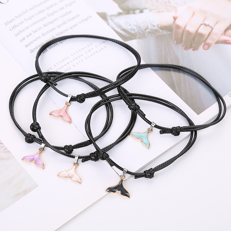 2019 New Fashion Female Anklets Cute Fish Tail Foot Beach Bracelet Black Rope Chain Summer Anklets Jewelry Gifts for Women