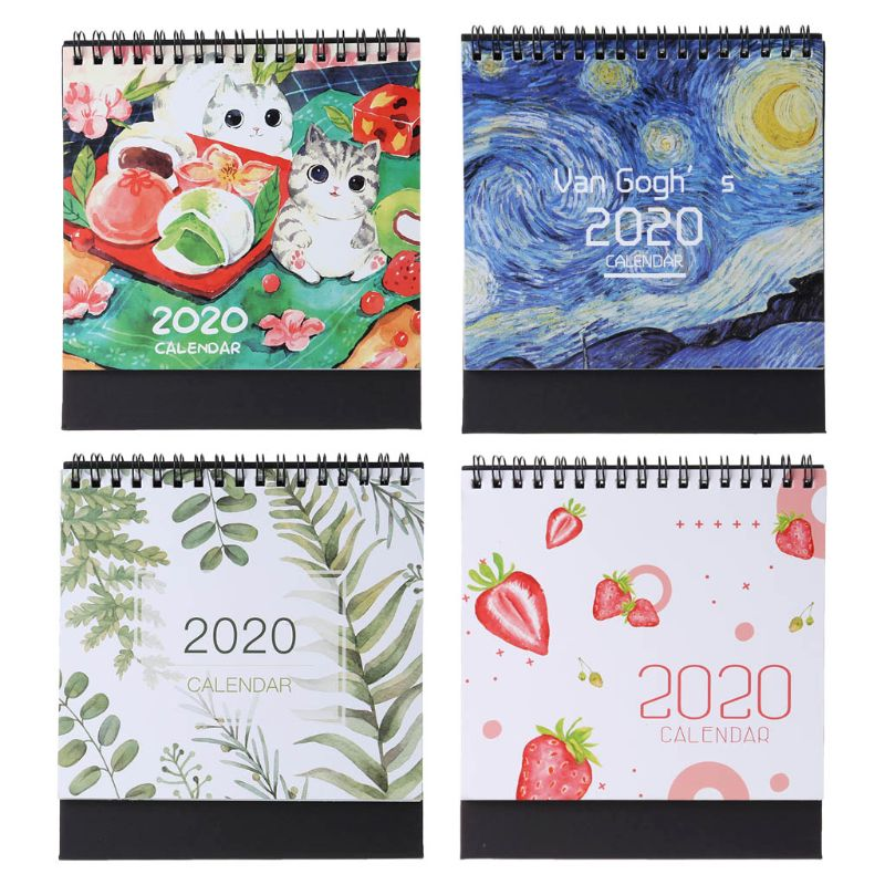 2020 Colorful Pattern Desktop Standing Paper Double Coil Calendar Memo Daily Schedule Table Planner Yearly Agenda Organizer