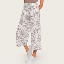 AcFirst Summer Autumn Women Fashion White Long Loose Pants Casual Pants High Waist Mid Calf Female Pant Printed M L Plus Size stylish mid waisted printed loose fitting exumas pants for women