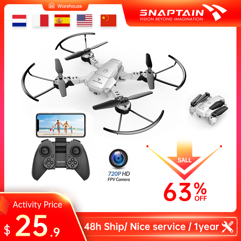 Quadcopter SNAPTAIN A10  Mini drone Foldable Drone 720P HD Camera FPV WiFi RC Voice Control Gesture Control3DFlipsChristmas gift