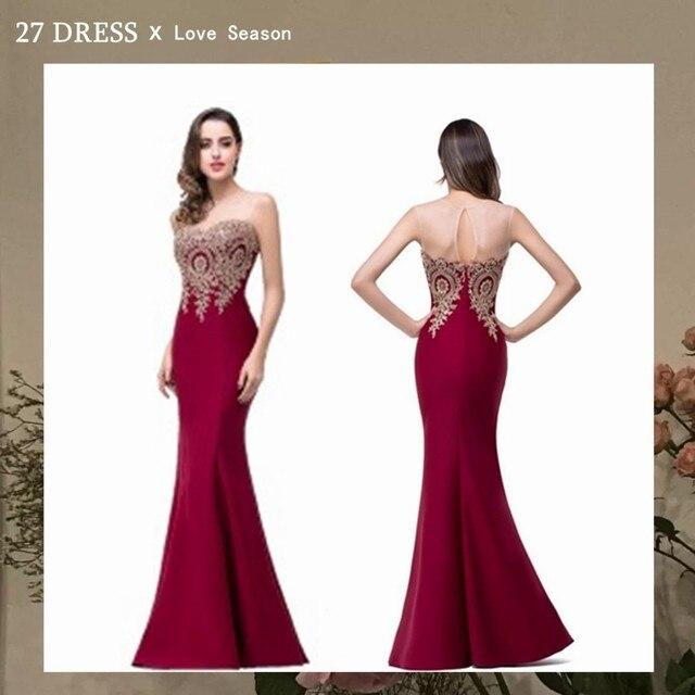 Sexy Backless Appliques Burgundy Mermaid Lace Long Prom Dresses Royal Blue Black Evening Party Dress Vestido de Festa Longo 2