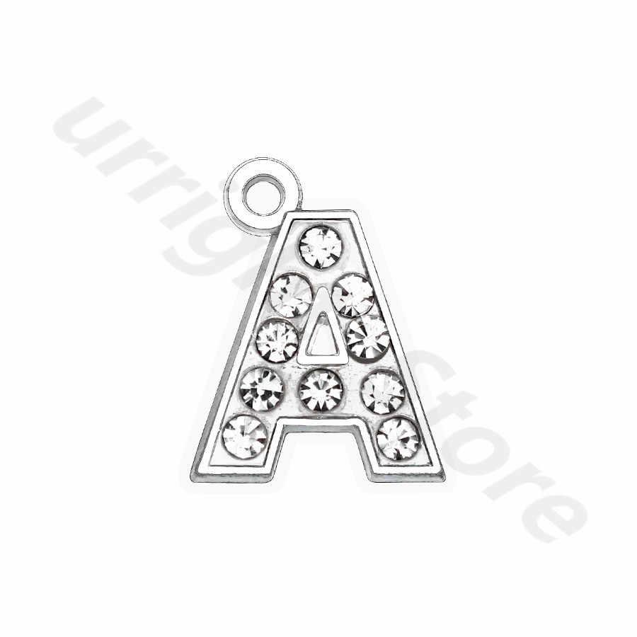 1 個クリアラインストーンハング手紙の魅力ペンダント約 15 × 15 ミリメートル亜鉛合金フィットペット犬の首輪タグネックレス
