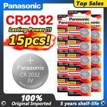 Panasonic 15 pces 3 v cr2032 cr 2032 botão da moeda de lítio li ion bateria dl2032 ecr2032 5004lc kcr2032 br2032 relógio de pulso pilha da moeda