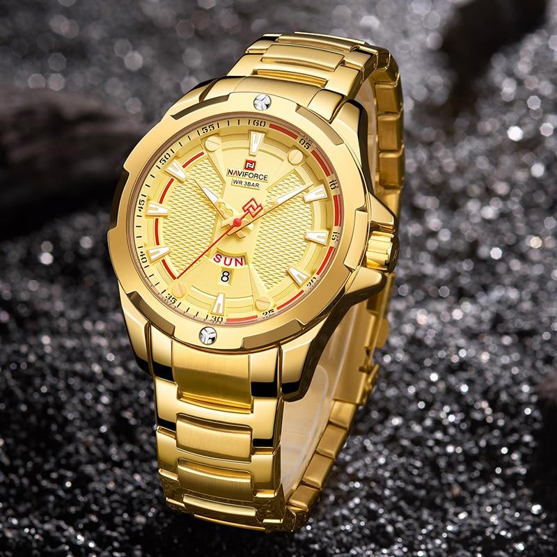 Image 5 - NAVIFORCE Military Fashion Gold Watch Men Luxury Quartz Wristwatch Sport Casual Clock Wateproof Watches Relogio Masculino 2019-in Quartz Watches from Watches