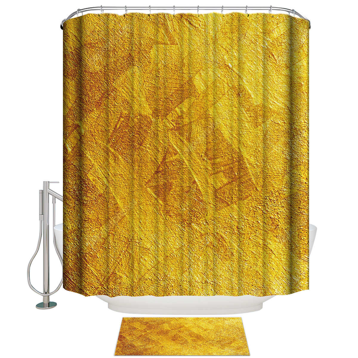 Gold Abstract Background  Shower Curtain Bathroom Decor