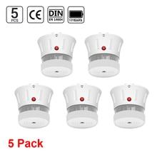 CPVan 5pcs/Lot Smoke Detector EN14604 CE Certified Smoke Alarm 10 Year Battery Wireless Sensor Detector for Home Alarm Systems