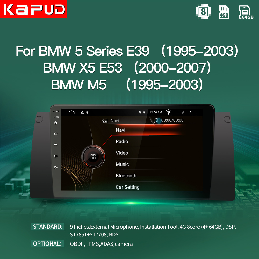 "Kapud Android 10.0 Car Multimedia Player 9"" Inch Navigation For Bmw E39 5 Serie/M5 1997 2003 Radio Stereo BT GPS Wifi DSP