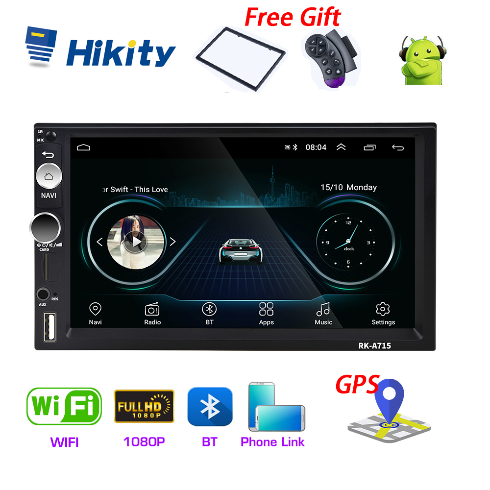 Hikity Universal 2din Andriod 8.1Car Multimedia Player GPS Navigation Bluetooth Car Audio Wifi USB Mirror Link 7''HD Car Audio image