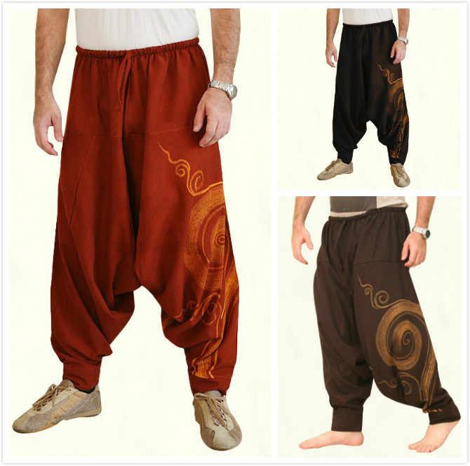 Pantalones Holgados Sueltos Vintage Para Hombre Ropa Con Estampado Tradicional Tailandes Hill Tribe Pantalones Bombachos De Tela Con Correas En El Tobillo Fondo Medieval Aliexpress